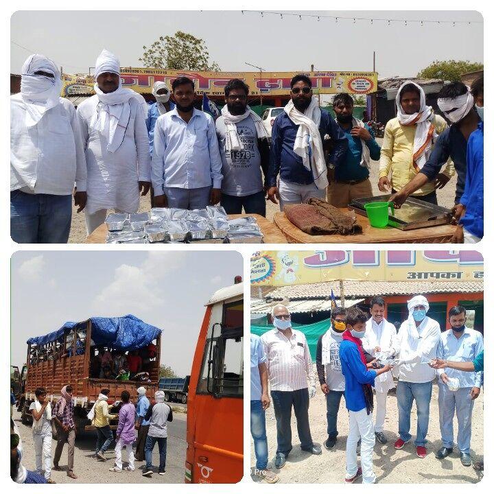 जनपद जालौन से होकर गुजर रहे प्रवासी मजदूरों को बहुजन समाज पार्टी के कार्यकर्ताओं ने खाना खिलाया।