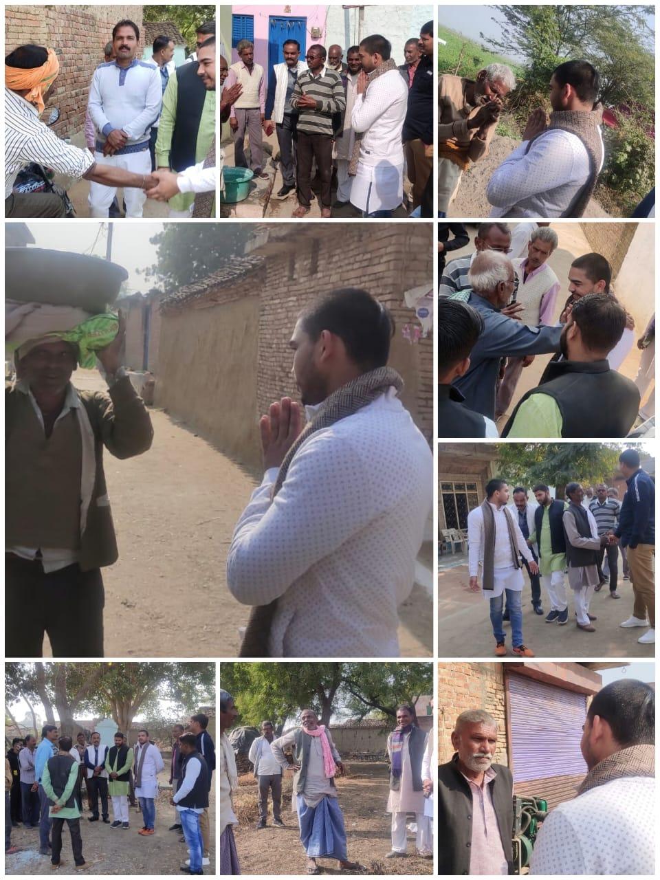 जालौन-गाँव गाँव -पाँव पाँव चलकर रामेन्द्र त्रिपाठी ने बताए अपने नेता के काम।