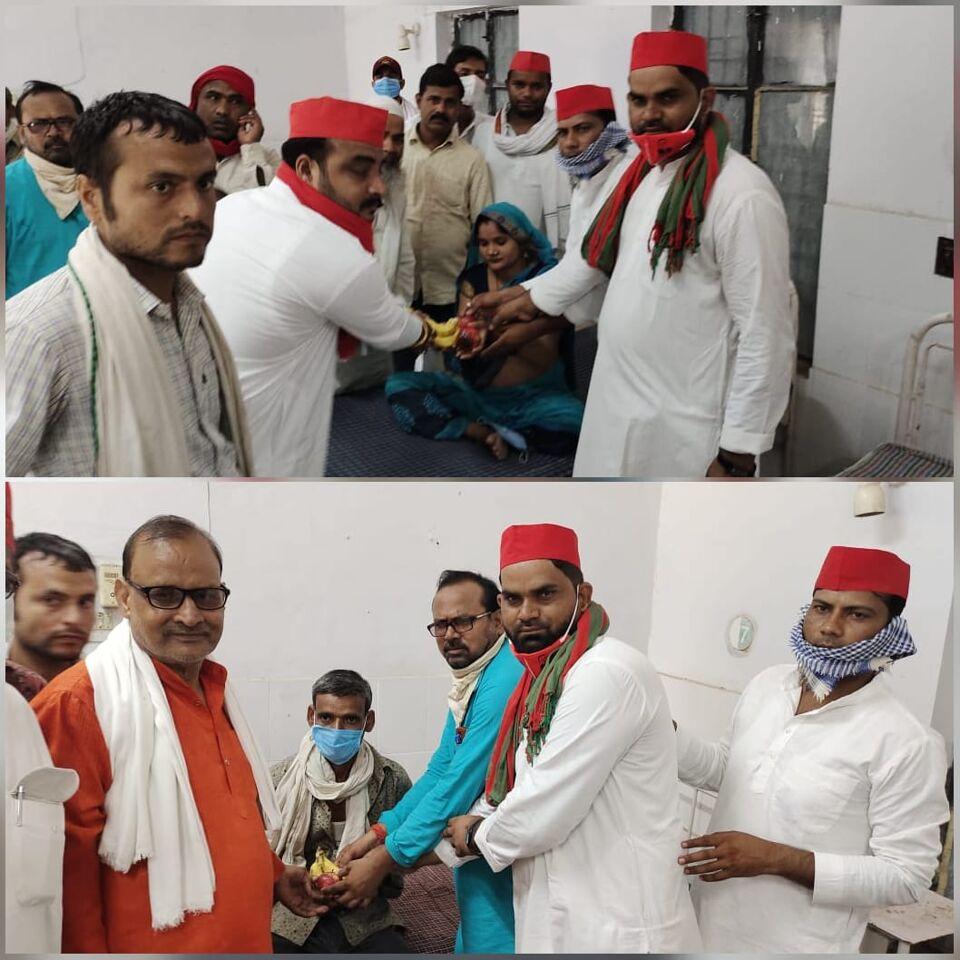 जालौन-पूर्व मुख्यमंत्री अखिलेश यादव के 48वें जन्मदिन पर मरीजो को फल वितरण किये।